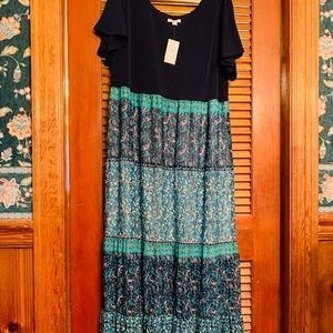 CATOS  POOL BLUE PETITE MAXI DRESS NWT SZ 18/20WP.